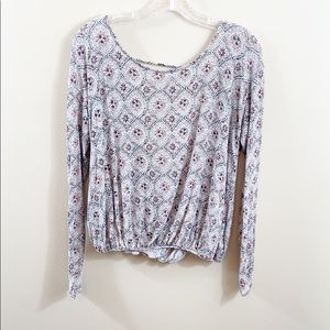 Free People Laguna floral open sexy back blouse